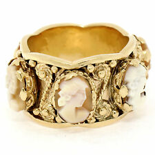 Vintage 14K Yellow Gold 6 Carved Cameo Twisted Wire Eternity WIDE Band Ring Sz 6