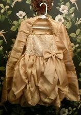 NWT, CINDERELLA COUTURE Girls Gold w/ Sequins Pageant Party Dress w/ Wrap Sz 4