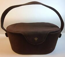 Vintage 50s Brown Suede Genuine Leather Lined Box Style Purse