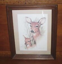 Art by Paul Whitney Hunter Pencil & Wash Doe & Fawn Lithograph Framed Artwork
