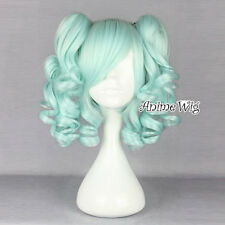 Lovely Light Green 35CM Short Lolita Style Curly Girls Cosplay Wig + 2 Ponytails