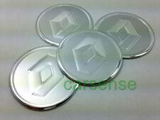 4 x RENAULT argento Centro Ruota Adesivi Decalcomanie Etichetta Mozzi Tappo 60mm