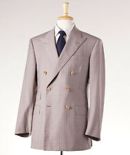 NWT Imperfect $4495 OXXFORD HIGHEST QUALITY Beige-Lavender Stripe Wool Suit 40 R