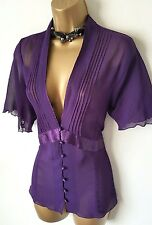 GOTHIC Purple Sheer Pintuck Blouse18 20 Vintage Victorian Steampunk
