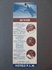 Vintage BOOKMARK French Winter Sports Summer Holidays P.L.M Hotels FRANCE Ski