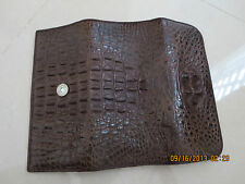 Genuine Crocodile Leather Trifold Woman Wallet brown