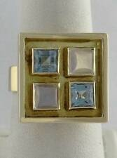 LADIES 18K YELLOW GOLD SQUARE CONTEMPORARY PRINCESS CUT BLUE CZ OPAL RING 17mm
