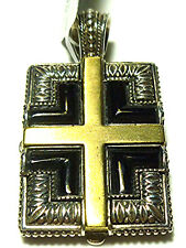 KONSTANTINO STERLING SILVER ONYX BRONZE GOTHIC CROSS PENDANT DOG TAG RETAIL $570