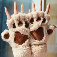 New Soft Winter Womens Girl Paw Gloves Fingerless Fluffy Bear Cat Plush Paw Chic