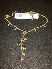STERLING SILVER/10K BEAD LARIAT NECKLACE 18""