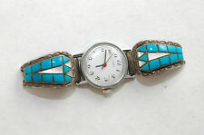 Vintage Lady's 28 stone Turquoise & Mother of Pearl Sterling Silver Watch tips