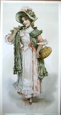 art print~BASKETS & BOWS~Victorian Young lady pink,green hat girl vtg repro 8x14
