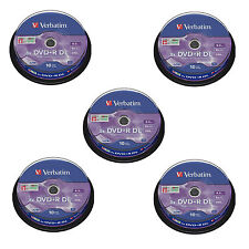 50 Verbatim DVD+R Double Layer 8.5GB 8x ( 5 x10 spindle) 43666