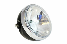 "6.5"" Gloss Black Steel 12V 35W Headlight for Moto Guzzi Cafe Racer Project"