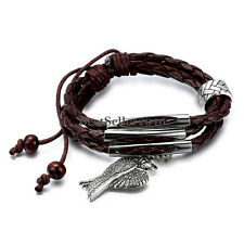 Antique Silver Tone Angel Wings Brown Braided Leather Surf Adjustable Bracelet