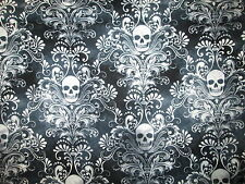 SKULLS FANCY SUGAR SKULL BAROQUE BLACK COTTON FABRIC FQ