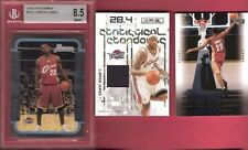 LEBRON JAMES BGS NM-MINT+ BOWMAN ROOKIE + GAME USED JERSEY + UPPER DECK RC CARD