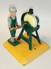 Vintage Western  Germany Tin Steam Engine Toy Man with Grinding Stone C. 1960's