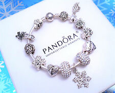 Authentic Pandora Silver Bangle Bracelet with Snow White European Charm.