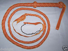 6 FOOT 4 PLAIT TAN LEATHER  BULLWHIP INDIANA JONES  (bull whip)