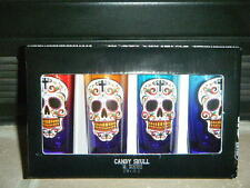 COLOR TINTED SUGAR SKULLS DAY OF THE DEAD TALL SHOT GLASSES GLASS CORDIAL SET!!