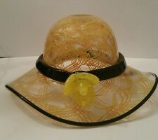 LARGE HAND MADE BLOWN DECORATIV GLASS HAT W FLOWER YELLOW SWIRLS BLACK TRIM DESC