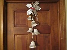 VINTAGE Christmas WINDOW HANGING  PAPER MACHE BELLS w Mercury Glass Beads