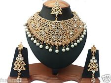 DEEPIKA 'S GOLD PLATED ZERCONIC KUNDAN NECKLACE SET JEWELRY EARRINGS TIKA
