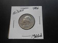 1964 D Washington Silver Quarter Circulated #486, You Grade it!