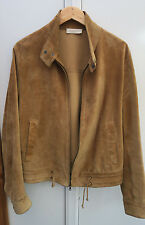 BURBERRY LUXURY SUEDE TAN LEATHER BOMBER JACKET MADE IN ITALY MENS 52 LARGE L