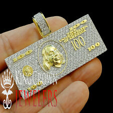 Mens Yellow Gold Over Real Silver Cash $100 Bill Money Lab Diamond Pendant Charm
