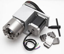 CNC Engraving Router Rotational Axis,4th Axis, A axis 4 Jaw 80mm   Lathe Chuck