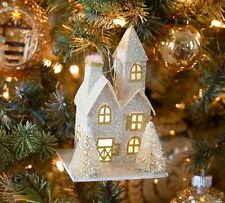 NEW Pottery Barn Lit Glitter House Ornament Silver