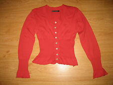 LADIES GUDRUN SJODEN RASPBERRY SCOOP NECK BUTTON UP COTTON CARDIGAN TOP SIZE M