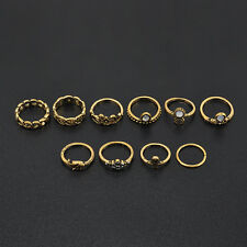 10Pcs/set Vintage Gold Silver Carved Crystal Moon Midi Knuckle Ring New