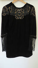 ZARA  BLACK  VELVET BEADED  SEQUIN  EMBROIDERY  3/4 SLEEVE COCKTAIL DRESS SIZE L