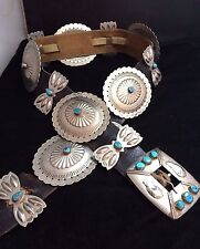 Navajo Silver and Turquoise Concho Belt Native American Morenci Signed*K30
