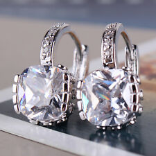 Fashion 18K white gold filled white sapphire crystal women luxury hoop earring
