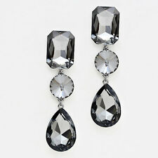 "Rhinestone Earrings Long Shaped Teardrop Crystal HEMATITE 3""Drop Wedding Evening"
