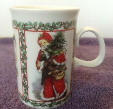 Dunoon MERRY CHRISTMAS Mug Cup Victorian Prints Retired Scotland Stoneware Santa