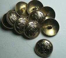 Pack of 8 27mm French Inspired Navy Anchor Gold Military Style Button 2038