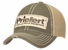 Priefert Western Hat Mens Distressed Snap Cap Logo OSFA Olive Gray 1591806