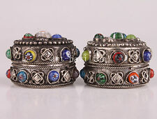 TIBET SILVER COLORED BEADS ORNAMENT JEWELRY BOX HAND VINTAGE COLLECTABLE OLD