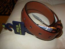 POLO RALPH LAUREN MENS LOGO BROWN  LEATHER BELT DUAL BELT LOOP 32 $75 NWT
