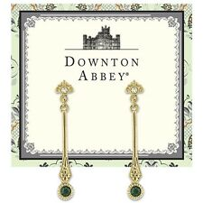 Downton Abbey Gold-Tone Emerald Green Crystal Linear Earrings 17549