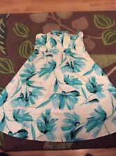 M&CO STRAPLESS DRESS SIZE 16 WHITE WITH TURQUOISE FLOWERS. VGC