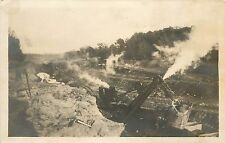 Unposted 1907-15 Real Photo PC Industry Machinery Steam Shovel Cuts Road, WA