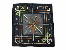 Authentic Excellent HERMES Petit Scarf 100% Silk CANNES & POMMEAUX Black 32604