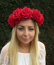 Large Red Rose Flower Headband Big Garland Hair Crown Band Festival Boho 1738