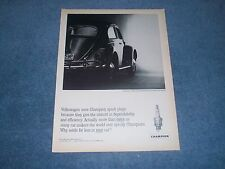 1963 Champion Spark Plugs Vintage Ad with Volkswagen Bug VW